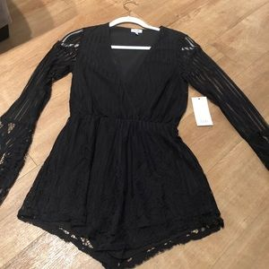 Tobi black lace romper -new with tags.